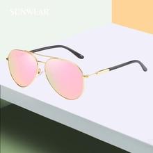 bdc5558c55 SUNWEAR 2019 nuevo estilo aviador polarizado gafas de sol de las mujeres de  moda de Metal piloto, gafas de sol para mujer rosa e.
