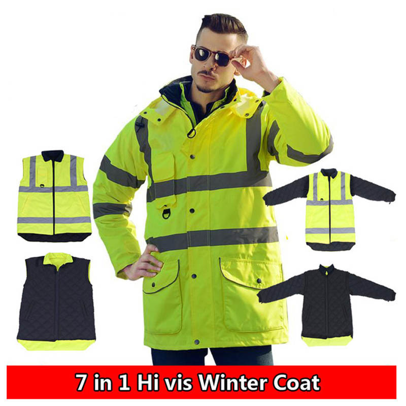High Visibility Motorcycle Winter Reflective Safety Jacket Clothing Waterproof Windbreaker Rain Coat Cycling Protective Jackets