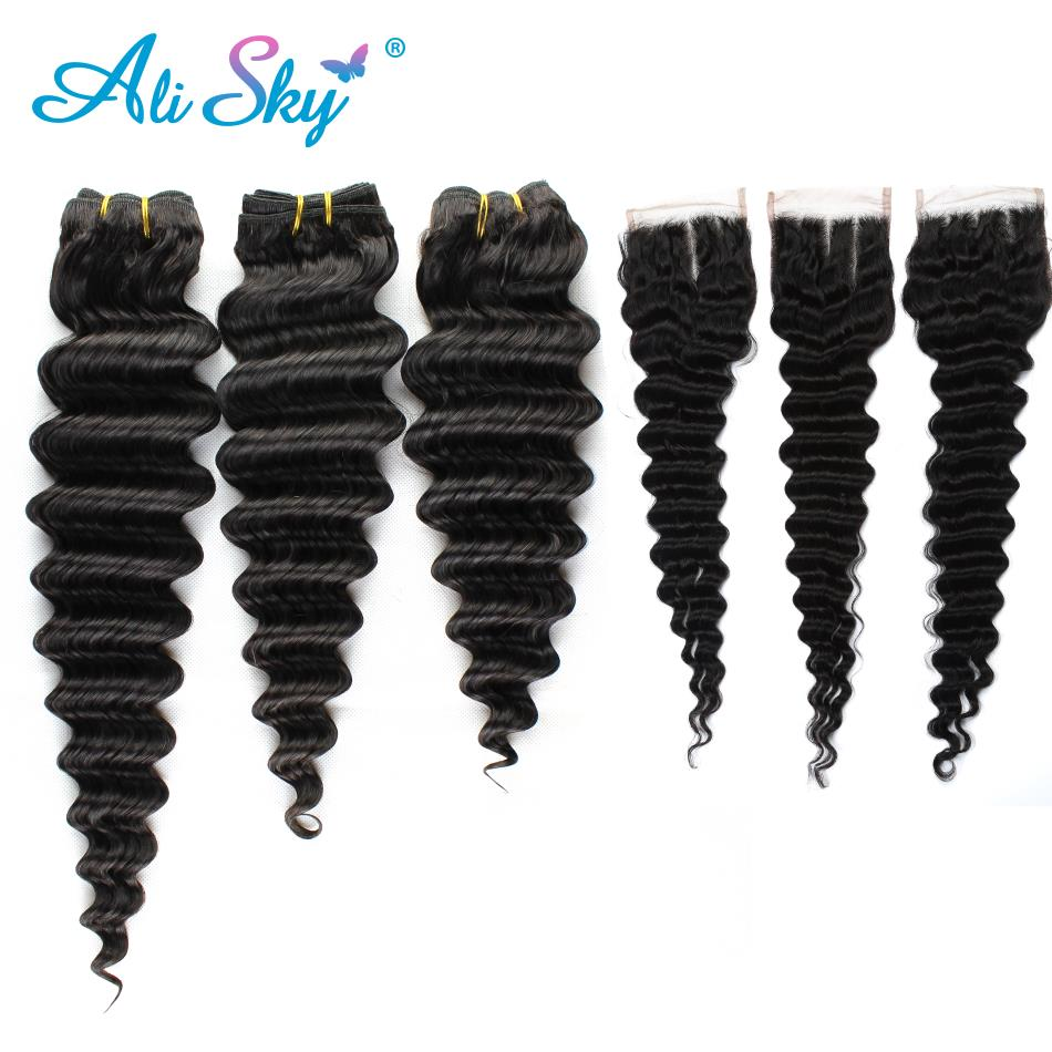Ali Sky Hair Company Indian Deep Wave 3Bundles With Closure 4 PCS/lot Free/Middle/Three part Human Hair Extension NonRemy Hair