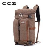 CCZ Canvas Backpack For Travelling 14 Laptop Computer Bag Camping Bags Mens Shoulders Bag Men Backpack