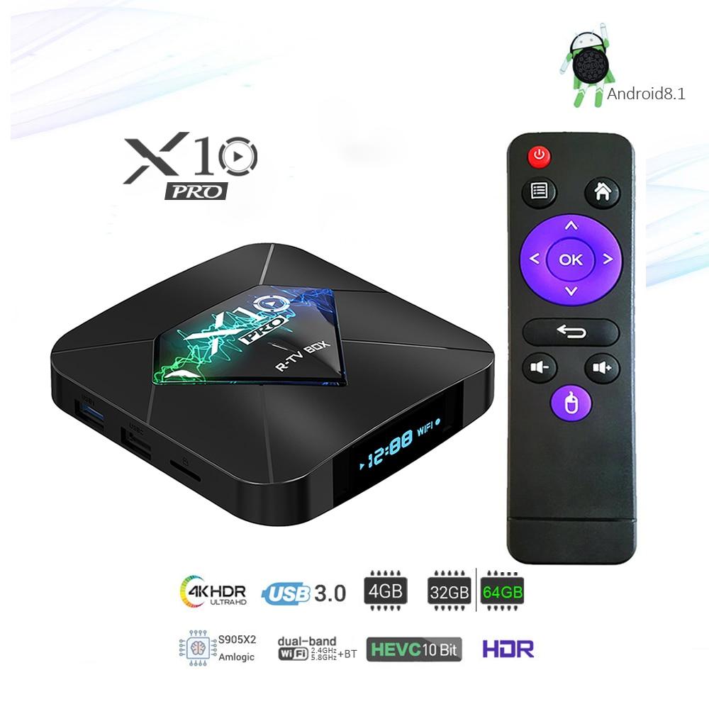X10 Pro Android 8.1 Smart TV BOX S905X2 LPDDR4 4GB 32GB / 64GB 2.4G 5GHz Wifi Bluetooth4.0 4K 3D Netflix Youtobe Set Top TV box