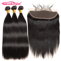 13x4 Ear To Ear Lace Frontal Closure With Bundles Brazilian Straight Hair 3 Bundles With Frontal