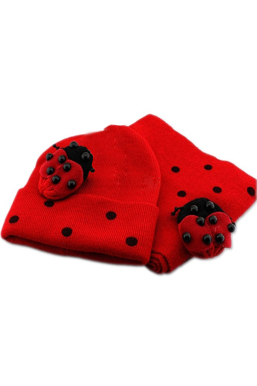 KEOL Best Sale Red Baby Boy Girl Toddler Winter Ladybird Ladybug Hat and Scarf Set