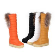รองเท้าหิมะหนาอบอุ่นหญิงแบนกันน้ำผ้าฝ้ายรองเท้าF Auxขนเข่าสูงหิมะบู๊ทส์แฟชั่นสุภาพสตรีรองเท้าความสะดวกสบาย