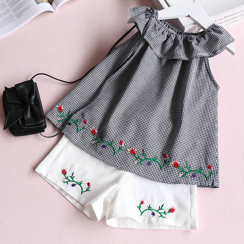 Princess Girls Plaid Ruched Vests Baby Sets Kids Flower Embroidery Floral Shorts Clothes Summer Children Clothing 5sets/LOT