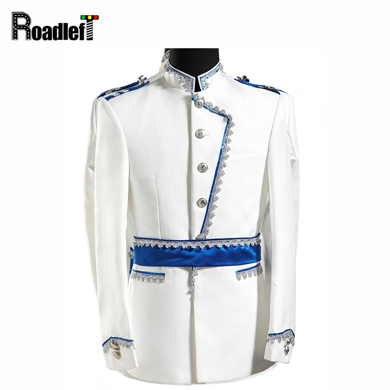 Men white blazer chinese collar suit mens embroidered