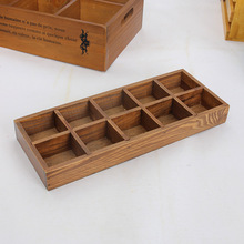 1PC Vintage Classic 10 Lattices Cosmetics Organizer Creative Sundries Storage Box Wood Makeup Organizador Home JL 0916