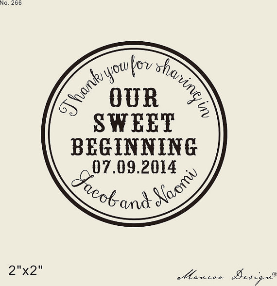 thank you for sharing in our sweet beginning custom rubber stamp