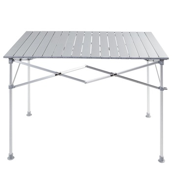 High Quality Sturdy Aluminum Lightweight Folding Picnic Camping Table Smooth Roll-up Composite Top Outdoor Table HW56395