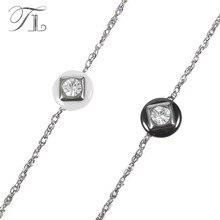 TL Fashion Round Zircon White & Black Ceramic Bracelet For Women Stainless Steel Charm Bracelet Girl Female Jewelry Dropshipping