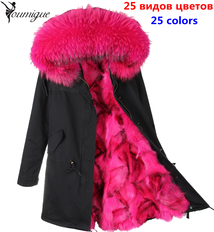 YOUMIGUE Women's army green Large raccoon fur collar hooded long coat parkas outwear fox fur lining winter jacket manteau femme women large collar army camouflage fox fur liner hooded coat outwear real fox fur lining jacket woman brand dhl free shipping