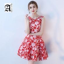 купить Short Simple Evening Dress 2019 New Slim Birthday Party Dresses O-neck Sleeveless A-line Prom Dress Haute Couture по цене 6401.16 рублей