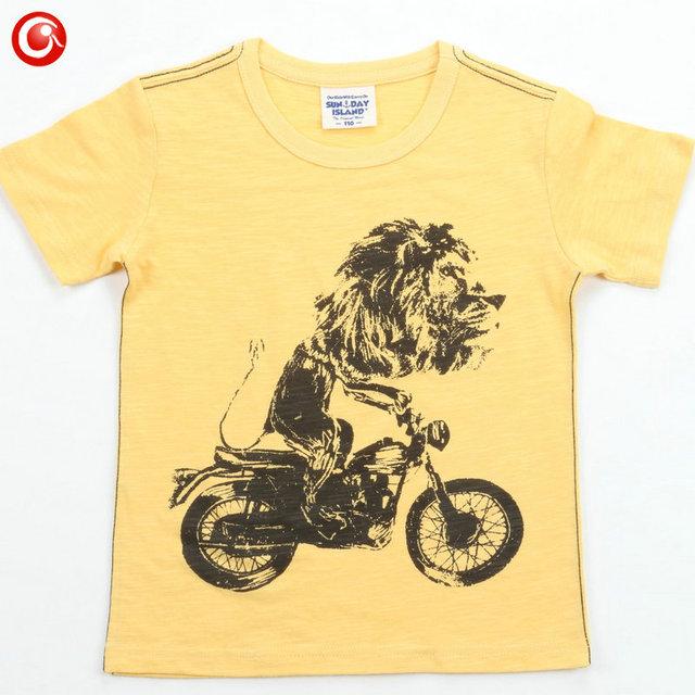 León Impreso 2016 de algodón de moda camiseta de los niños ropa de verano de manga corta camisetas niñas niños niños ropa top tee 3-7 T