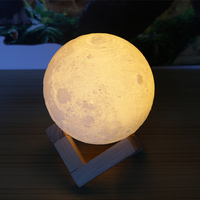 AUCD 18 20CM 3D Magical Moon LED Night Light Moonlight Desk Table Lamp USB Rechargeable For