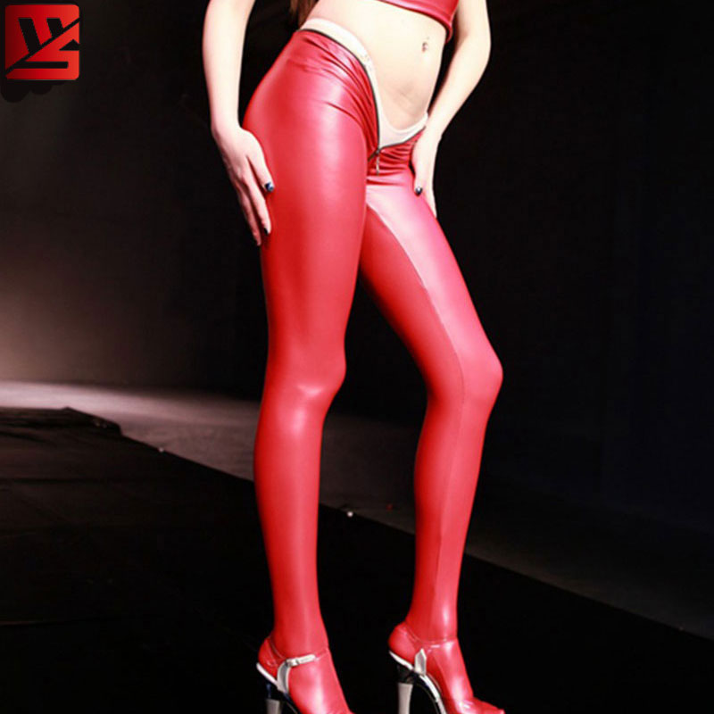 MEISE PVC Shiny Pencil   Pants   Faux Leather Open U Crotch Full Length Casual   Pants     Capris   Moto Biker Pencil Hot   Pants   Plus Size