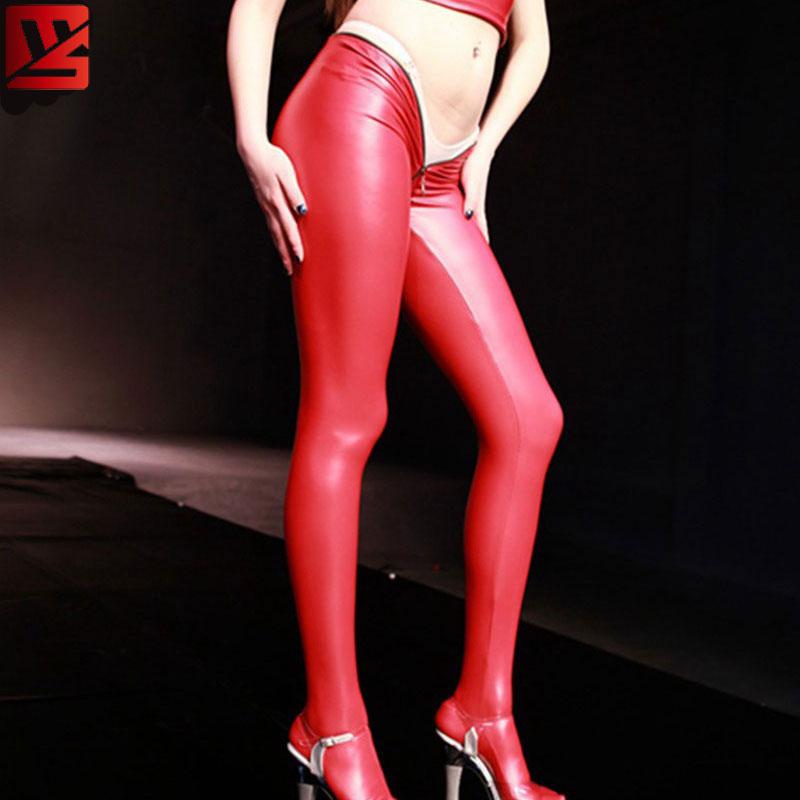 MEISE PVC Shiny Pencil   Pants   Faux Leather Open U Crotch Full Length Casual   Pants     Capris   Moto Biker Pencil Hot   Pants   Plus Size