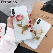 Gold Foil Transparent Rose TPU Case for iPhone 7 8 Plus X XR XS Max Glitter Clear Back Cover for iPhone 6 6s 7 Plus Phone Case baseus simple tpu soft case for iphone 7 transparent rose gold