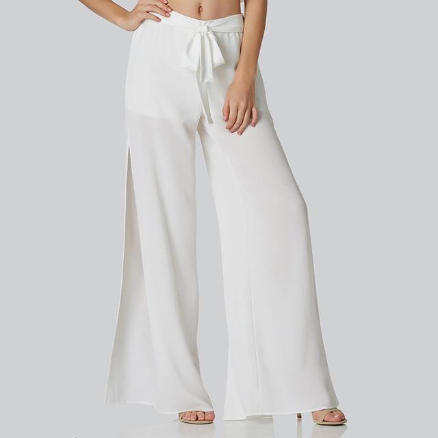 b5e43dca867 New Fashion Drawstring Wide Leg Pants Women High Waist Slim Female Trousers  Sexy See Through Sheer White Pleated Casual Pants