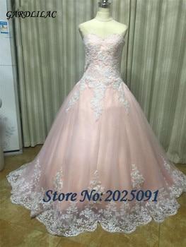 08c9f01da Sweetheart Blush Pink Vestidos de quinceañera balón vestido de tul con  encaje blanco Appliques dulce 16