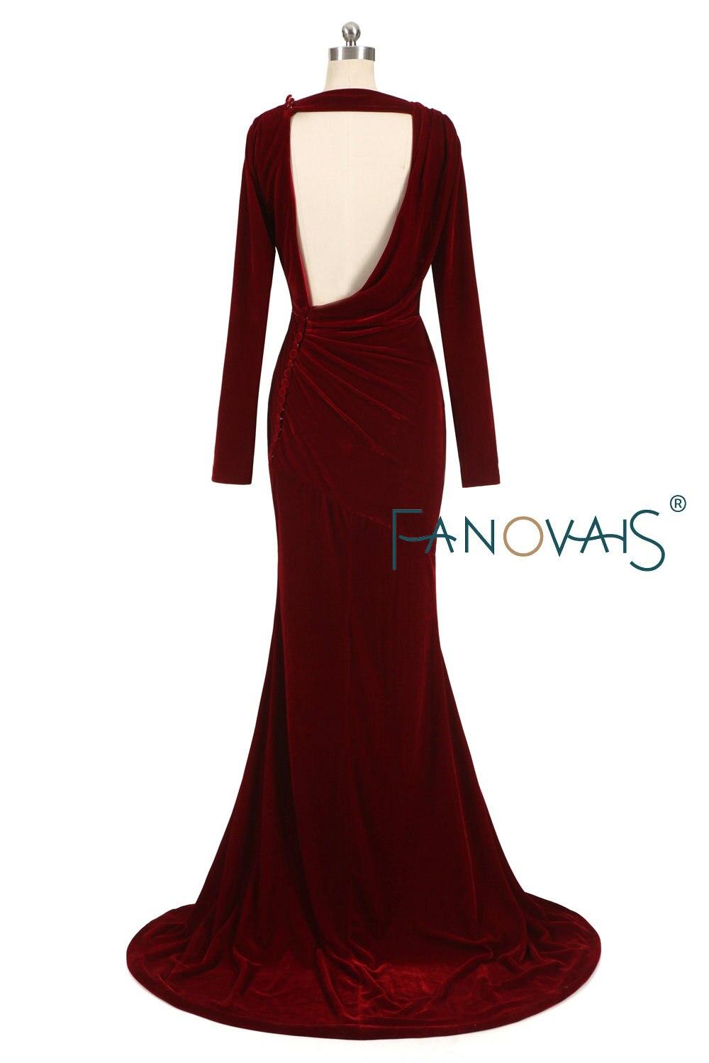 Burgundy velvet Evening Dresses Long Sleeves robe de soiree longue 2019 Prom Dress abendkleider vestidos de fiesta de noche in Evening Dresses from Weddings Events