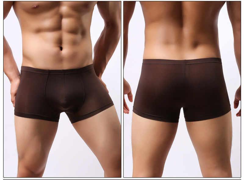 Breathable Ice Silk Boxer Sexy Underwear Men's Shorts Bulge Pouch Underpants Slip Homme Panties Underpants Male Boxers Trunks