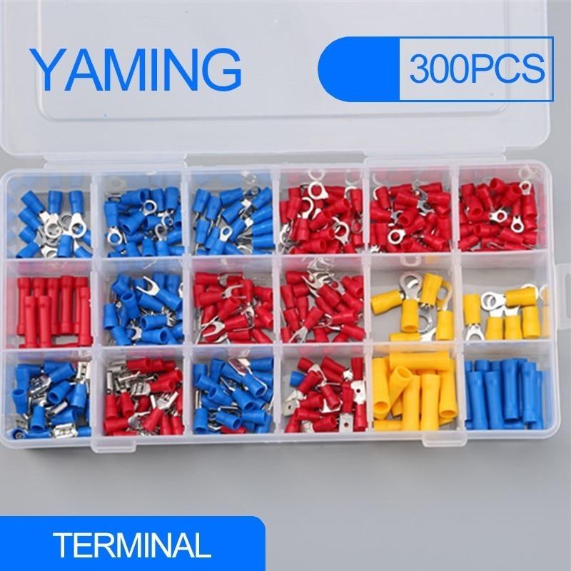 Набор электрических обжимных клемм, 300 шт., изолированные клеммы, стыковые разъемы, красный, желтый, синий