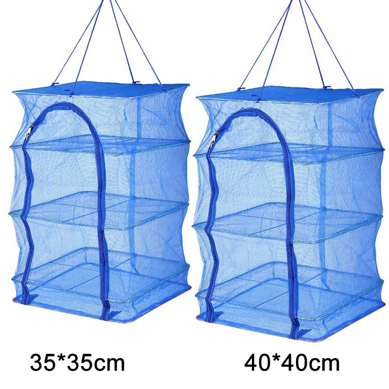 Foldable 4 Layers Drying Fishing Net Rack Hanging Vegetable Fish Dishes Dryer PE Hanger Fish Net FG66 in Fishing Net from Sports Entertainment