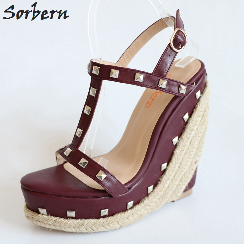 Sorbern Wine Red T-Strap Rivets Rope Wedge High Heel Sandals Platform Gold Studs Ankle Strap Summer Sandals For Ladies Plus Size plus size leisure beach espadrille wedge heel sandals