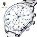 Lujo Cronógrafo HOLUNS reloj hombres fecha correa de cuero cristal de zafiro resistente al agua reloj de Cuarzo relogio masculino