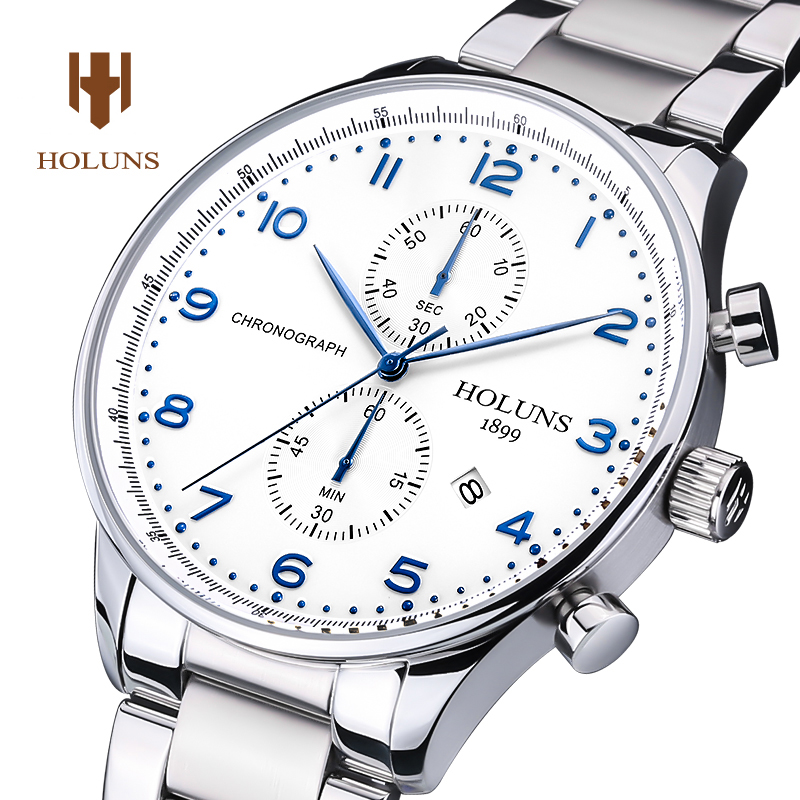 Luxury HOLUNS watch men sapphire glass waterproof date leather strap Chronograph Quartz watch relogio masculine все цены