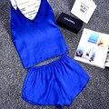 Senhoras Sexy Pijama De Cetim De Seda Conjunto Rendas Conjunto de Pijama de Mangas Conjunto Pijama Com Decote Em V Sleepwear Casa de Verão Desgaste Desgaste Do Sono Para mulheres