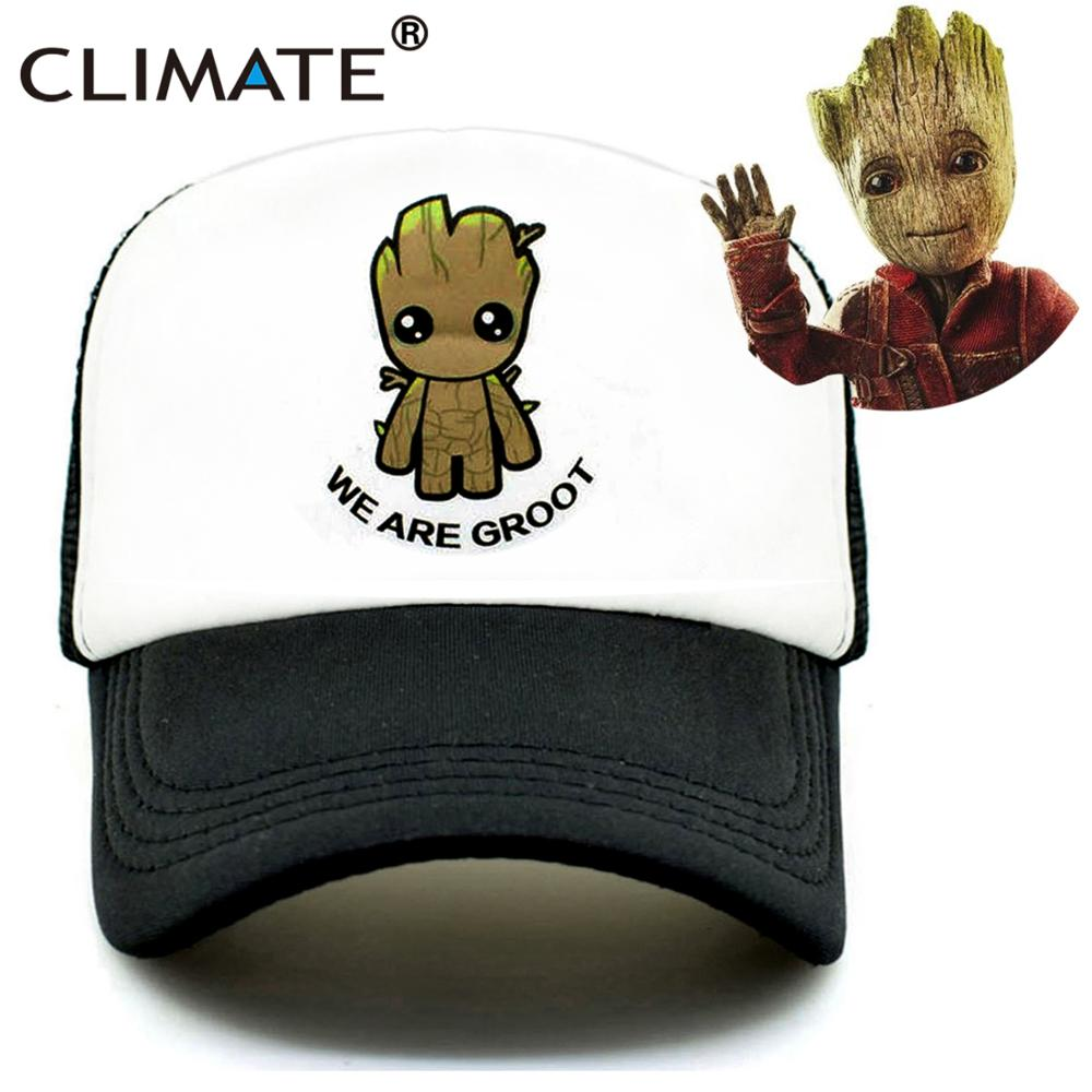 CLIMATE Groot Trucker Cap Caps New Summer Mesh  The Galaxy GuardiansGroot Fans Fan Printing Meh Youth Mesh Cool Summer Caps