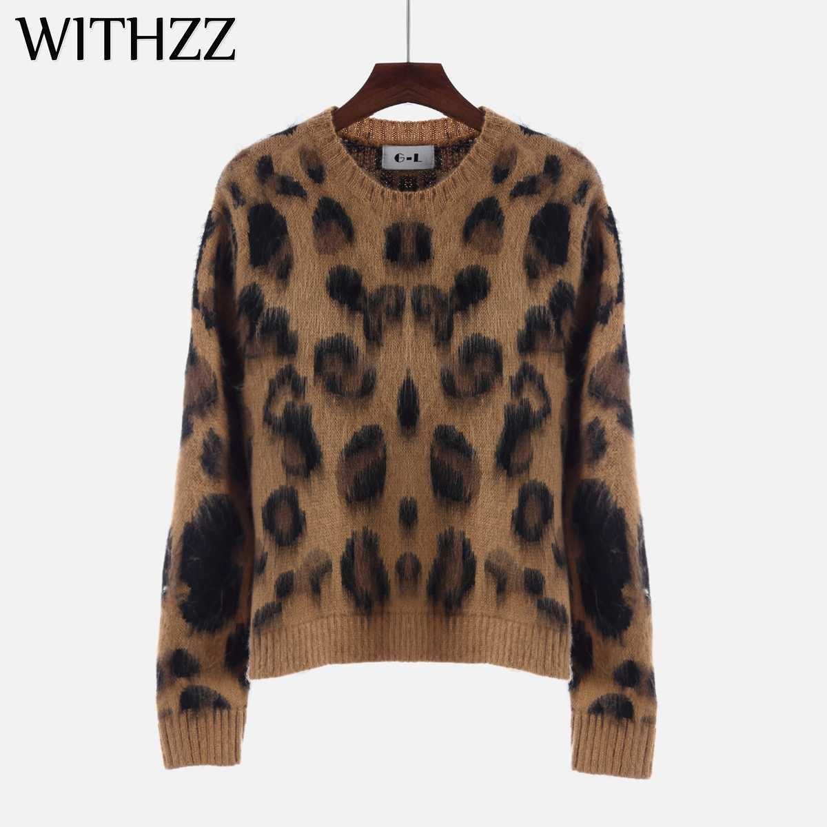 WITHZZ New Arrival Spring Autumn Elegant Casual Round Neck Leopard Print Long Sleeve Sweater Women Autumn Pullovers Sweaters