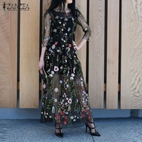 ZANZEA Women Dress 2017 Summer Sexy Vintage Embroidery Floral Mesh Patchwork Maxi Long Dresses Casual Loose