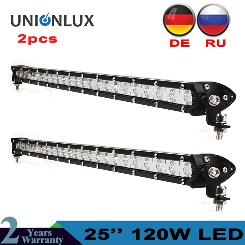 2pcs Straight Slim LED Light Bar Single Row 25 120w Driving Lamp For SUV 4X4 4WD