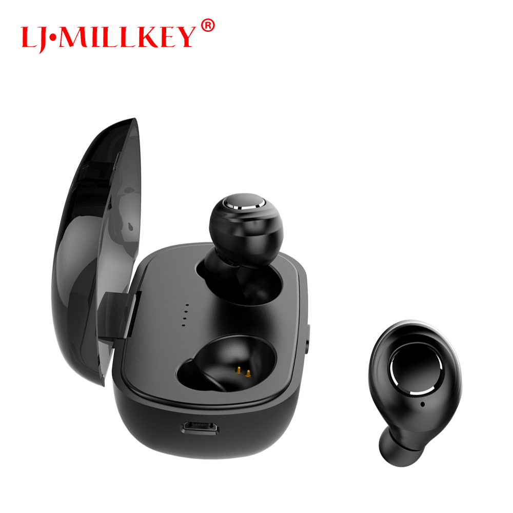 New Year 2018 TWS Bluetooth headset Stereo Music Earphone built-in Mic Small Wireless Earbud with 330mAh Recharge battery YZ188 ture wireless stereo tws mini bluetooth headset twins earphone built in mic wireless recharge earbud with power bank yz165