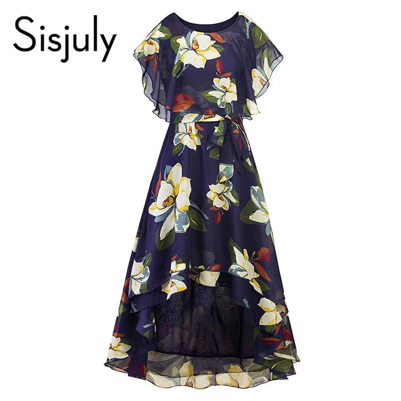 Sisjuly vintage summer dress women floral print a line o neck dress short sleeve retro elegant womens swing mid-calf dresses
