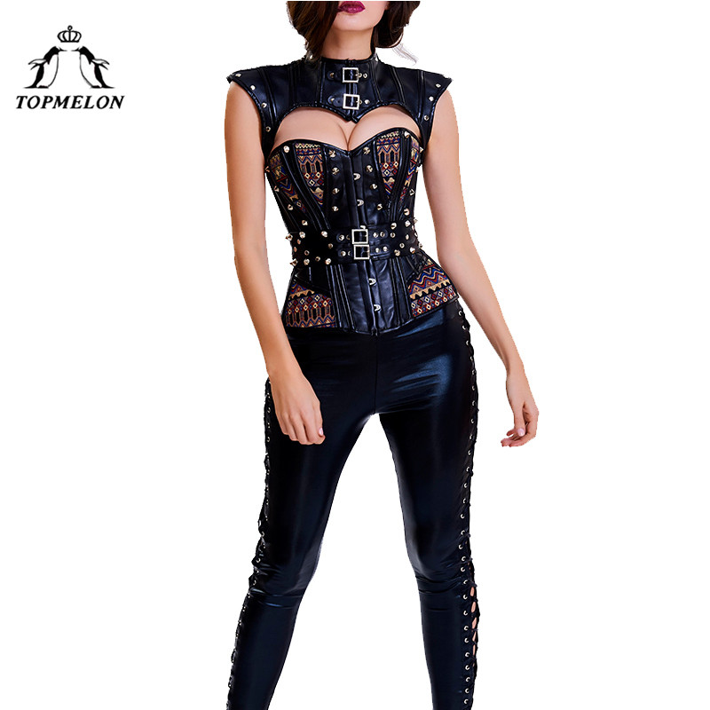 TOPMELON Sexy Corselet Bustiers Women Steampunk Bohemia Cut Out Shaper Rivet Floral Party Club Shows Cosplay Tops