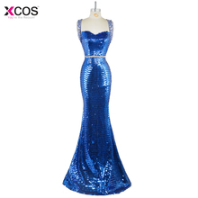 Royal Blue Evening Party Dresses Long Sleeveless Red Mermaid Evening Dress 2016 Beaded Rhinestone robe de soiree