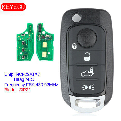KEYECU <font><b>Remote</b></font> <font><b>Key</b></font> Fob 4 Button 433.92MHz 4A Replacement for <font><b>Fiat</b></font> 500X Egea Tipo 2016-2018 Hitag AES image