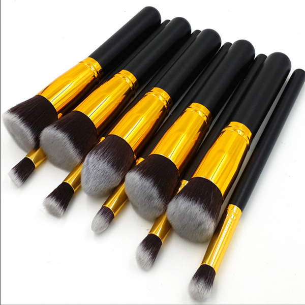 50set/lot Professional 10pcs Golden Kabuki Make up Brushes sets Foundation Blush Blending Brush organizador de maquiagem professional bullet style cosmetic make up foundation soft brush golden white
