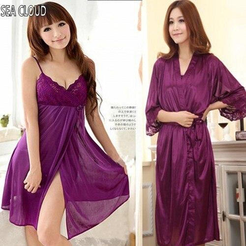Top quality Summer sleepwear lounge women's spaghetti strap sexy nightgown robe plus size purple ice silk medium-long bathrobes