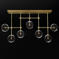 American RH Loft Metal Led Lustre Chandelier Loft Clear Glass Shades Ceiling Chandelier Lighting Luminaire Lamparas Fixtures