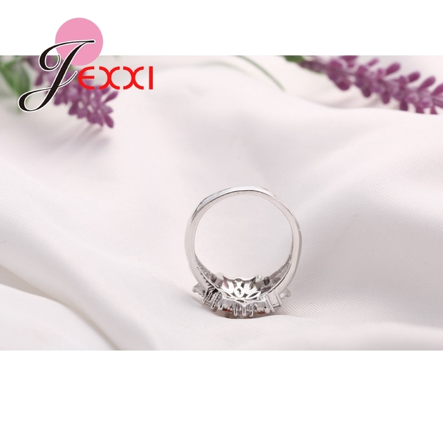 Girls Bling Jewelry Finger Accessories Fashion 925 Sterling Silver Colorized Flower Shape Rings Wholesale 5