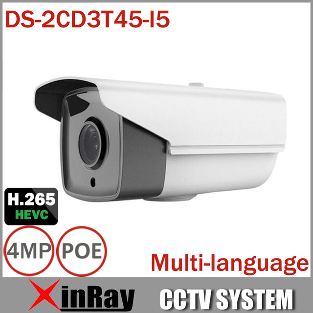 Full HD $ NUMBER MP Cámara Bala DS-2CD3T45-I5 Soporte H.265 HEVC POE IP Cámara CCTV Para El Hogar Seurity 50 M Rango IR