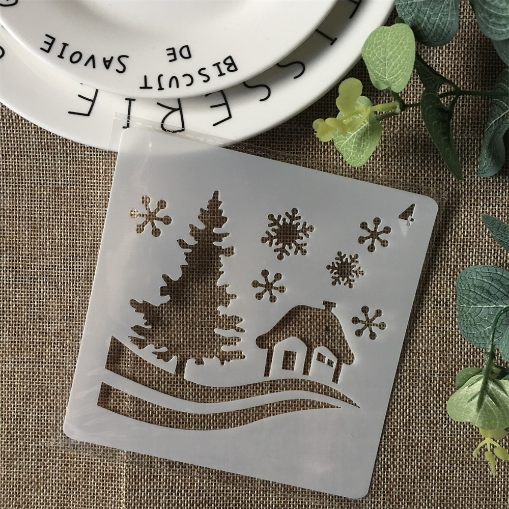 Hot 13cm Christmas House Snow DIY Layering Stencils Painting Scrapbook Coloring Embossing Album Decorative Card Template