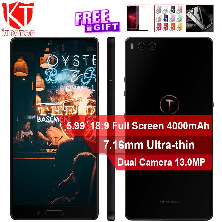 Nouveau Smartisan Écrou 3 Mobile Téléphone 4 gb ROM 32 gb RAM 5.99 7.16mm Ultra-mince Octa core Double Camrea 13MP Visage ID D'empreintes Digitales 4000 mah