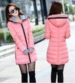 Abrigo de invierno mujeres de la chaqueta de wadded invierno femenino prendas de vestir exteriores niña chaqueta medio-largo de algodón acolchado chaqueta de color rosa abrigos señoras
