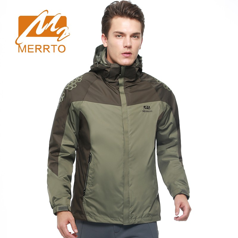 2017 Merrto Mens Outdoor Hiking Jackets Waterproof Windproof Camping Jacket Breathable Sports Coat For Men Free Shipping MT19132 2017 mens hiking shoes breathable rock climbing camping outdoor sports shoes for men army green black free shipping c101