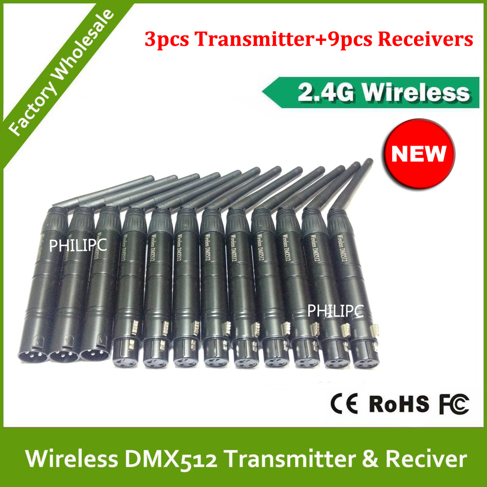 Wholesale Male Female 2 4G ISM DMX512 XLR Wireless Receiver and Transmitter with Antenna LED Lighting